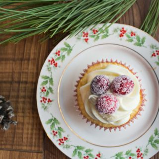 Sparkling Cranberry Cupcakes with White Chocolate Frosting
