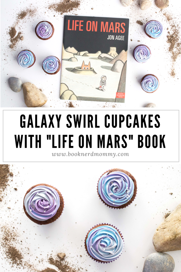 "A tutorial for easy and fun galaxy swirl cupcakes paired with the book ""Life on Mars"". So much fun for space themed parties and units."