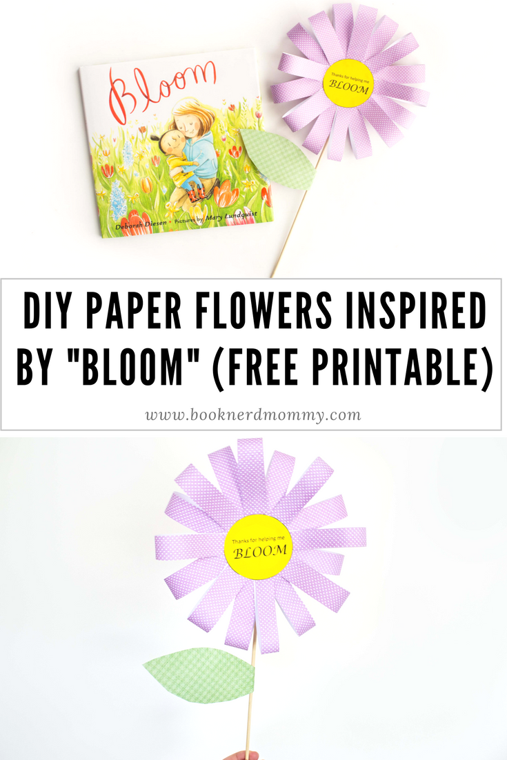 "DIY paper flowers inspired by ""Bloom"". These craft flowers come with a free printable and are perfect to be used as cards for Mother's Day, Teacher Appreciation Day, and more!"