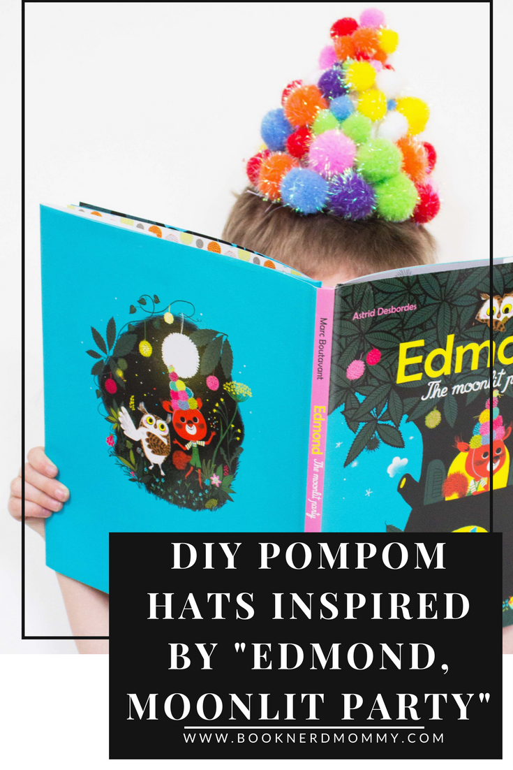 """DIY pompom hats that are so easy and so much fun to make.  They are inspired by the book """"Edmond, The Moonlit Party"""" and are sure to bring smiles to any party, craft time, or preschool classroom.  Enjoy!"""