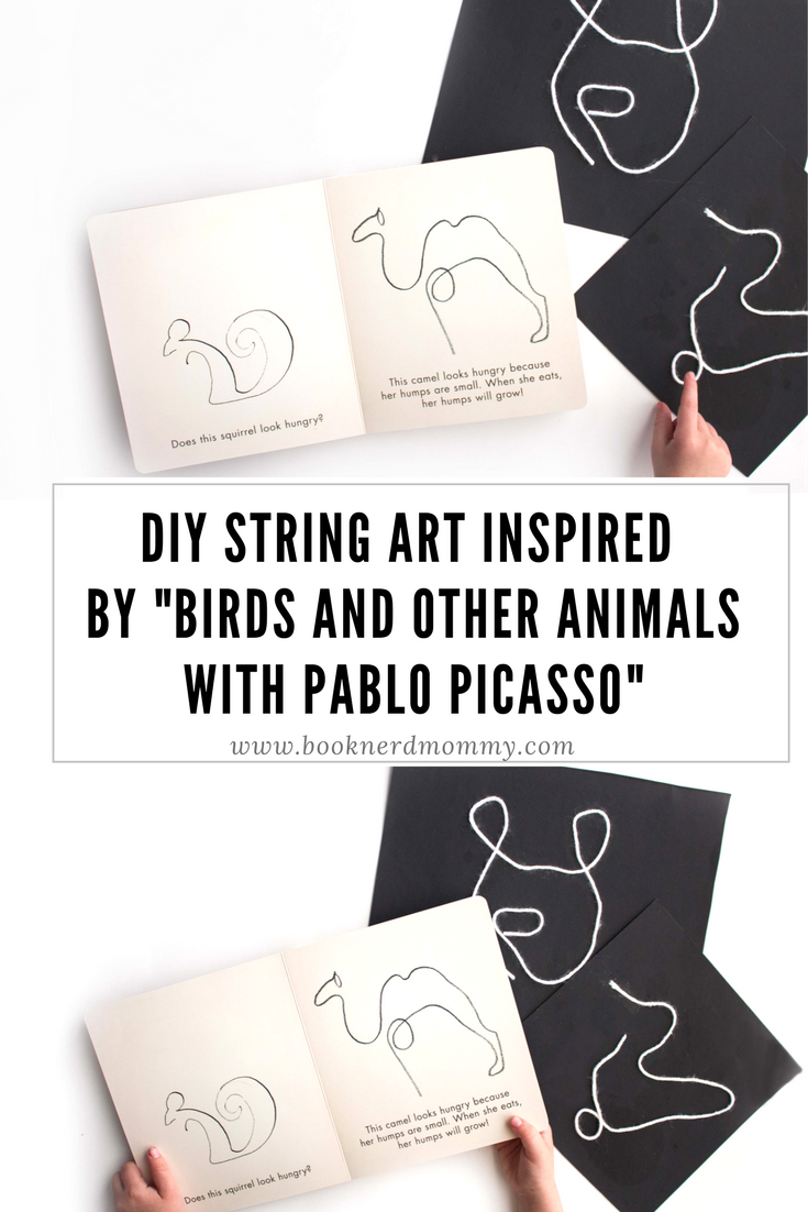 """This DIY string art is inspired by the work of Pablo Picasso featured in this new book """"Birds and other Animals with Pablo Picasso"""". Such a perfect craft for a kids art lesson!"""