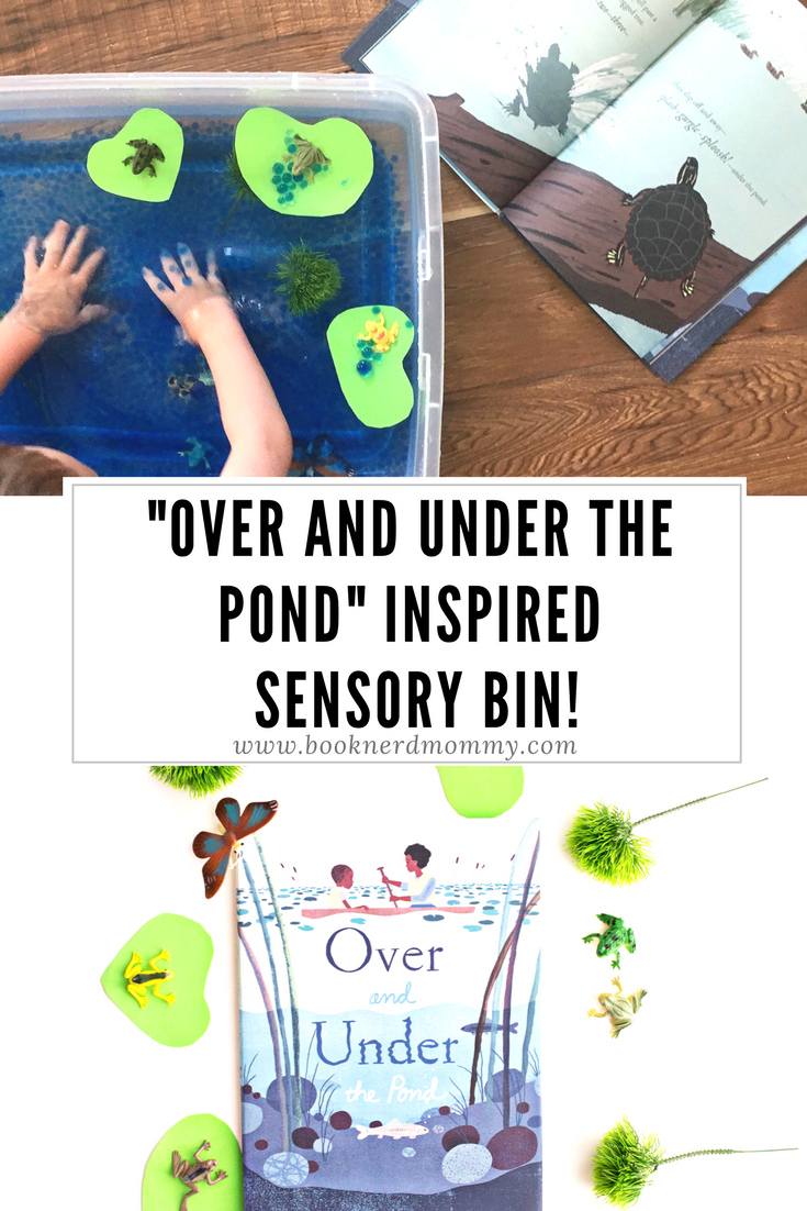 """DIY pond sensory bin book activity inspired by """"Over and Under the Pond"""".  Great for teaching about ecosystems and compete with water beads and frogs!"""
